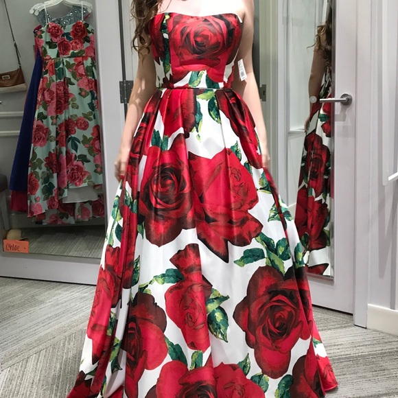 ac6339072dfb David's Bridal Dresses | 2018 Red Rose Davids Bridal Strapless Prom ...